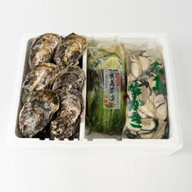 広島産生牡蠣 広島菜漬とむき身500gと 殻付き10個セット